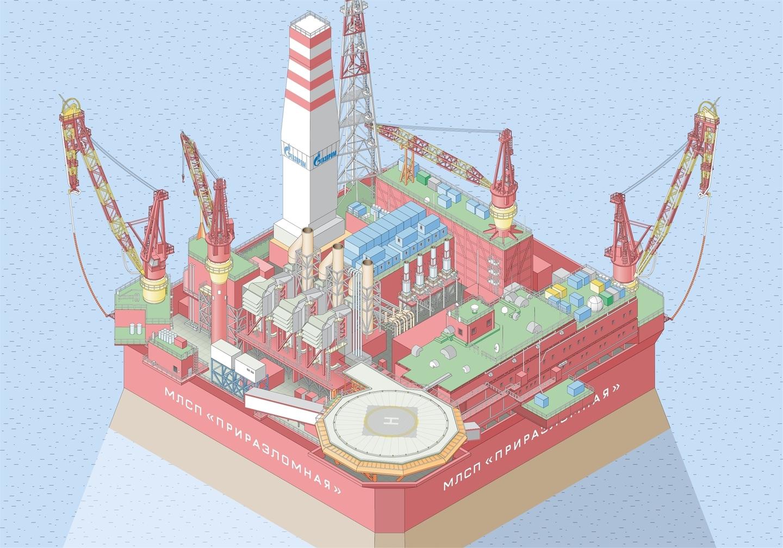 Интерактивная карта платформы «Приразломная» для компании «Газпромнефть», Лаборатория дизайна НИУ ВШЭ