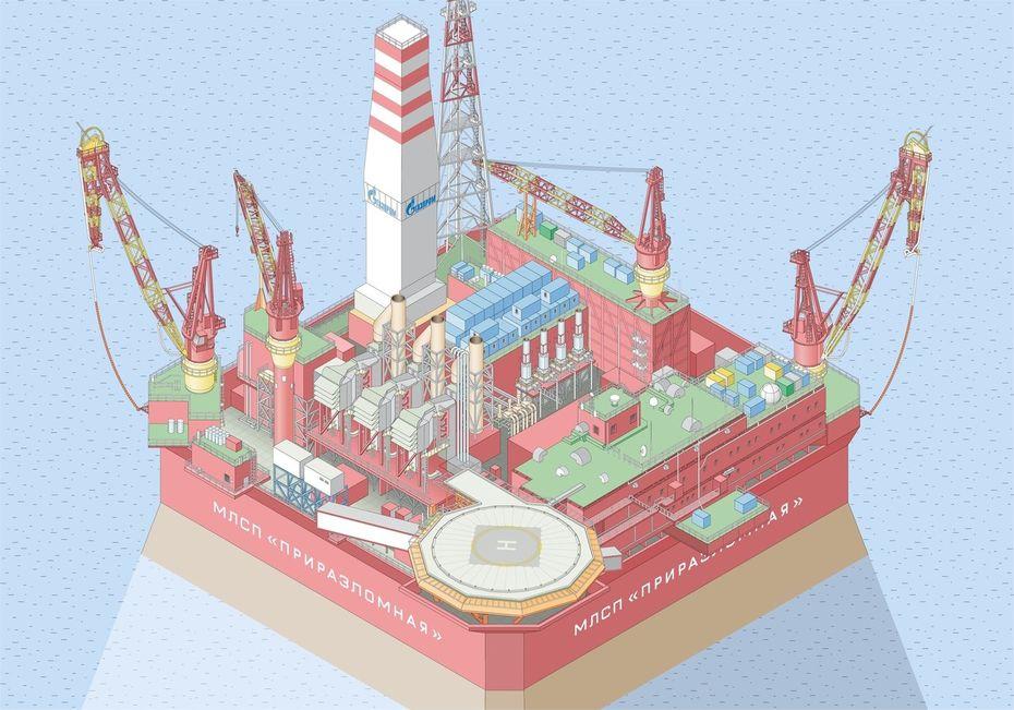 Интерактивная карта платформы «Приразломная» для компании «Газпромнефть»