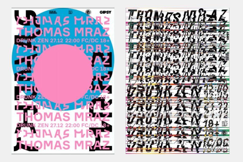 Выставка плакатов наконцерте рэпера Thomaz Mraz вклубе GIPSY
